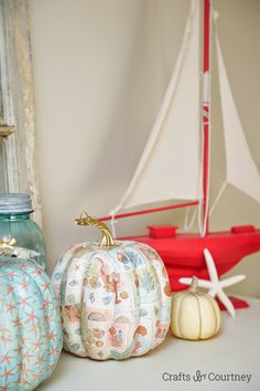 Decoupage pumpkins.  House of Turquoise: Crafts by Courtney