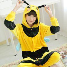 Yellow Bee Autumn and Winter Velvet Cartoon Animal Hooded Onesies Pajamas Kigurumi Adult Sleepwear $29.00  #Lovejoynet #Animal #Sleepwear