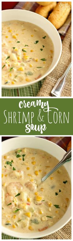 Creamy Shrimp soup soup & Corn Soup - A creamy Cajun-flavored soup filled with shrimp, corn, and potatoes and ready in about 30 minutes. It's a great soup for company too! Seafood Soup, Seafood Dishes, Seafood Recipes, Soup Recipes, Seafood Bisque, Sausage Recipes, Chili Recipes, Chicken Recipes, Dessert Recipes