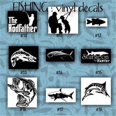 FISHING vinyl decals - 10-18 - car decal - vinyl sticker - laptop decal - stickers - fish - fishing boat - fisherman - custom vinyl decal
