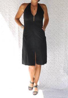 90s Armani Exchange Halter Dress  Sexy Little Black Dress.