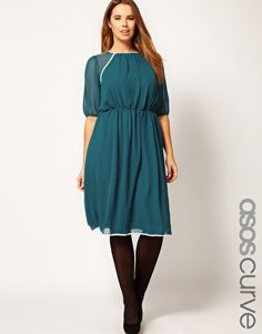 Enlarge ASOS CURVE Midi Dress With Contrast Piping    I would belt it, but iit looks gorgeous anyway:-)