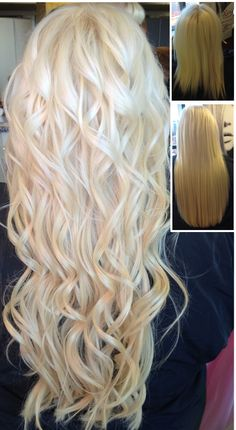 """Beautiful hair after an 18"""" platinum blonde weft is added to this fine hair. Gorgeous!!"""