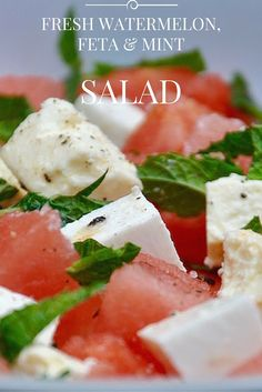 Fresh watermelon salad, with feta, mint, olive oil and lime. Perfect as a side dish or as a healthy lunch idea.-- This is such a refreshing and tasty side dish. Mint Recipes, Summer Recipes, Salad Recipes, Picnic Recipes, Picnic Foods, Healthy Snacks, Healthy Eating, Healthy Recipes, Mint Salad