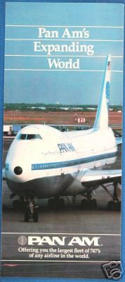 1980s A brochure cover for the expanding world of Pan Am.