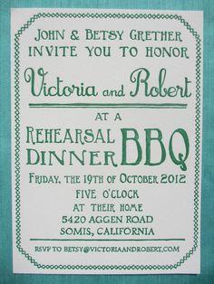 Letterpress Invitations - Backyard BBQ. $3.00, via Etsy.