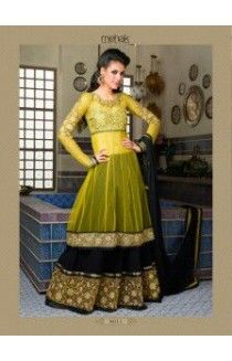 DESI LIBAS MUMBAI Sale on Indian designer Women Clothing hhtp://www.desilibasmumbai.com https://www.facebook.com/pages/Desi-Libas-Mumbai/482985541794027 Mehndi green Anarkli Double layer Material: net top layer and georgette Chiffon dupatta  Lining provided Santon Dupatta  embroidered