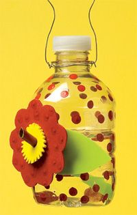 Plastic Bottle hummingbird feeder - cute craft for kids