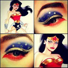 Wonder woman make up Batman Makeup, Superhero Makeup, Cosplay Makeup, Costume Makeup, Party Makeup, Dress Makeup, Creative Eye Makeup, Eye Makeup Art, Eyeshadow Makeup