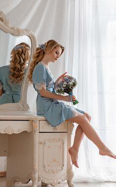 Silken Dressing Gown with Chantilly Lace   Шелковый пеньюар с кружевом шантильи «Утро в Париже» — Купить, заказать, пеньюар, шелк, атлас, кружево, шантильи, ручная работа, Париж, утро