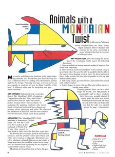 animals with a Mondrian twist from Arts and Activities magazine.