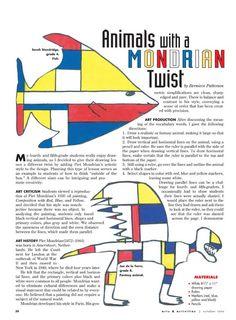 Animals with a Mondrian Twist - DBAE Lesson Plan (Art Criticism, Art History, Art Production, Aesthetics)