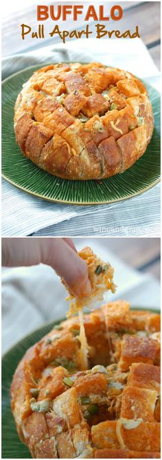 Buffalo Pull Apart Bread | Cheesy bread with that buffalo flavor that makes it perfect for any party!