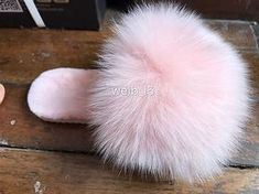 9136bb9818b980 Fall Winter Woman Lolita Pink Fox Fur Slippers Luxury Big Fur Slipper  Sandals