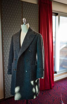 Grey&Blue Melange Casentino Double Breasted Coat by B&TAILOR