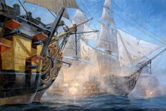 Battle of Trafalgar - HMS Victory Fires Broadside at French Frigate Redoutable. Russell Jinishian Gallery, Inc. Marina Real, Old Sailing Ships, Hms Victory, Pontiac, Ship Of The Line, Wooden Ship, Nautical Art, Ship Art, Tall Ships