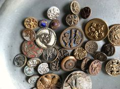 Antique brass button  collection/ supplies by SaffronColoredPony, $31.00
