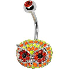 Orange Gem with Multi Neon Feathers Owl Face Belly Ring #bodycandy #piercing #new #neon #owl #bellyring #trending