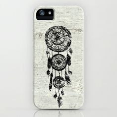 Hipster Lace black dreamcatcher on white wood iPhone Case by Girly Trend - $35.00