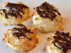 Low Carb Chocolate Drizzled Coconut Macaroons | keto LCHF sugar free gluten free cookie recipe