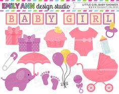 Girl Baby Shower Cute Clip Art  onesie by emilyanndesignstudio, $5.00