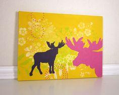 Pretty! http://www.etsy.com/listing/76173927/whimsical-moose-art-nursery-decor-yellow
