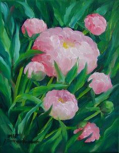 Pink Peonies Impression Original Oil Painting Fine Flower Art Europe Artist #Impressionism