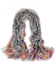 Dahlia Women's 100% Merino Wool Pashmina Scarf - Flower Edge Thicket - Gray