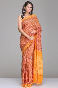 Brown Pochampally Cotton Saree With Orange Border & Pallu