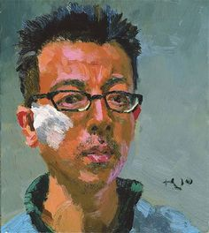SELF PORTRAIT, Liu Xiaodong (b1963, Jincheng, Liaoning Province, China). He now holds tenure as a professor in the painting department at CAFA
