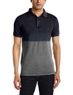 French Connection Men's Wembley Dip Dye Ss Mrln Polo Casual Shirt, Multicoloured (charcoal Mel/marine Blue), Small