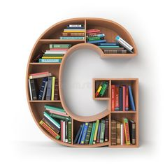 Letter G. Alphabet In The Form Of Shelves With Books On Stock Illustration - Illustration of book, bookcase: 105539202 Home Decor Shelves, Decorating Bookshelves, Bookshelf Design, Wooden Shelf Design, Wooden Shelves, Home Office Furniture Design, Letter Wall Art, Cute Room Decor, Diy Home Crafts