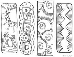 Here are some fun color-your-own bookmarks. Just color