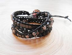 Olga triple wrap leather bracelet black silver beaded chan luu