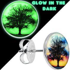Glow in the Dark Sunset Tree Stud Earrings   Body Candy Body Jewelry