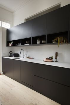 Shaynna Blaze creates a sublime butler's pantry with Caesarstone Cloudburst Concrete for manager and close friend, Chris Giannopoulos' family. Read the full design story. Brown Cabinets, Ikea Cabinets, Kitchen Cabinets, Kitchen Furniture, Kitchen Interior, Family Kitchen, Country Kitchen, Black Kitchens, Open Kitchens