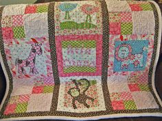 Custom Baby Quilt Personalized Safari Animals. $240.00, via Etsy.