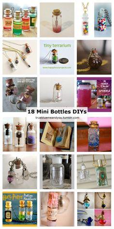 18 Mini Bottle DIYs posted on truebluemeandyou.Many of these...