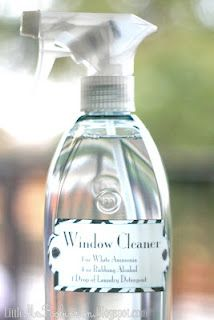 Window Cleaner - This is streak free, just like we like it. You can add a few drops of blue food coloring if you want it to resemble windex more (since it's mostly WATER), but there's truly no need~I've actually found I like this more than windex!