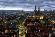 Evgeny Lushpin'in Masal Gibi 26 Resmi - Pinledik Fantasy City, Fantasy Places, Architect Jobs, Gothic Architecture, Night City, Fantasy Landscape, Anime Scenery, Prague, Kitsch
