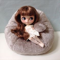 Blythe Bean Bag / limited edition / silver / grey / pattern