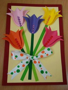 Spring Crafts For Kids, Diy Crafts For Kids, Diy Valentines Cards, Paper Flowers Craft, Quilling Flowers, Creative Embroidery, Embroidery Ideas, Mother's Day Diy, Mothers Day Crafts