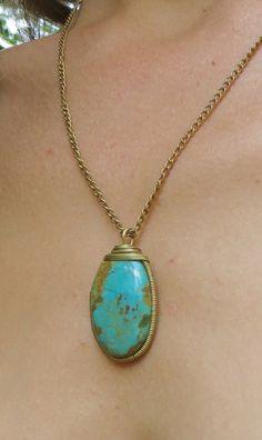 Turquoise Brass Necklace Bohemian Necklace Handmade by YemayaSoul