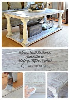 How to distress furniture. This uses MMS milk paint in Grain Sack as the base coat. Then distressing is done with a wet rag. It's an easy way to get a whitewashed or limed wood effect.