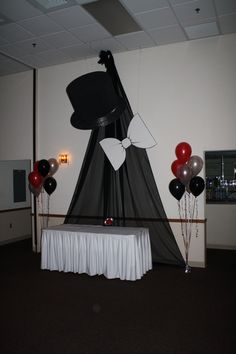 Top Hat and White Tie Theme Prom in Black, White and Red at Maneeley's Ballroom in South Windsor, CT.