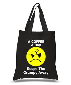 A Coffee A Day Keeps The Grumpy Away Tote, Coffee Lover Custom Tote Bag, Frowny face Bags, Coffee Drinker, Personalized Bags by KidultGifts on Etsy
