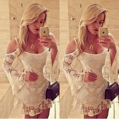 Vestidos De Renda 2015 New Sexy Women Hollow Out Lace Floral Dress Sheer Strap Off Shoulder Lace Mini Dress Elegant Party Dress = 1956852164
