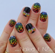 Nailed It NZ: Rainbow leopard-print nails! http://www.naileditnz.com/2013/06/rainbow-leopard-print-nails.html