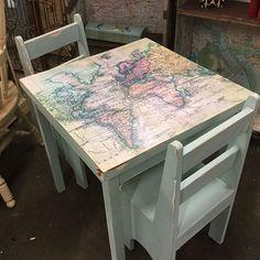 World map children's table #paintedfurniture #decupage #dixiebellepaint
