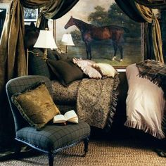 Ruffled sheets, sisal, swing-arm brass lamps, equestrian painting, canopy bed - Ralph Lauren